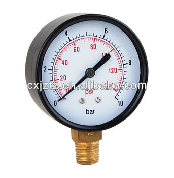 Low Standard Pressure Gauge With Black Steel Case ,Black Steel Bezel Bottom Coonction