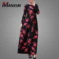 Long Sleeve Muslim Daily Maxi Dress 2018 Latest Floral Printed Islamic Clothing Chiffon Abaya For Women
