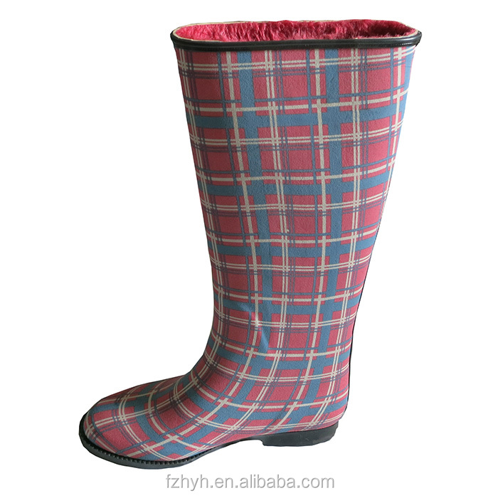 The Colorful Tartan Pattern Plaid Rubber Rain Boot For Women