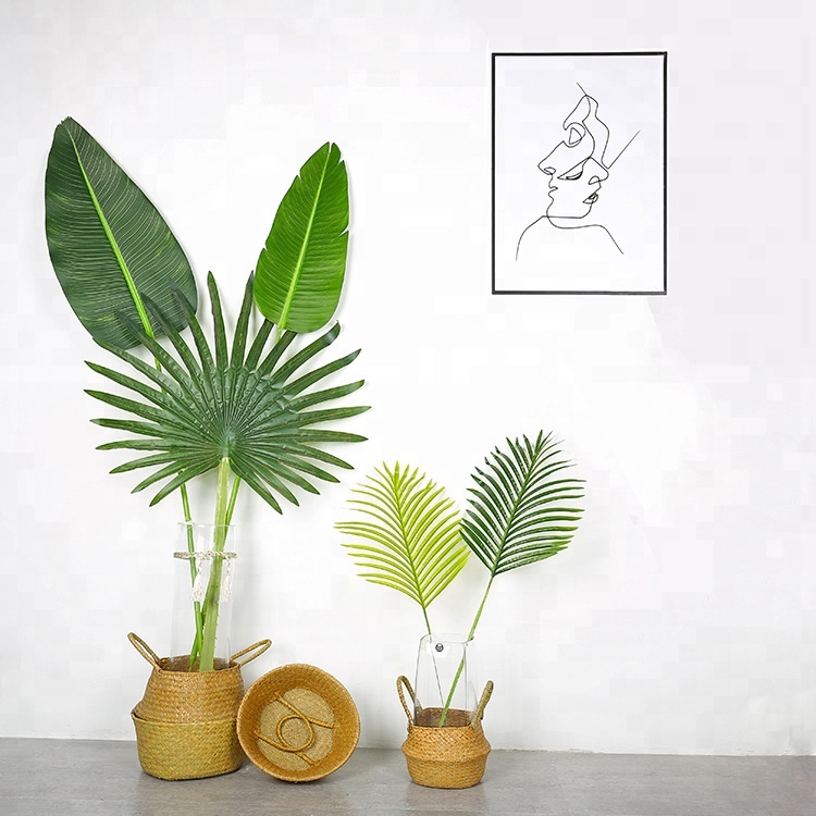 Artificial Fake Fan Palm Tree Leaves Plastic Palm Leaf fake faux artificial tropical palm leaves