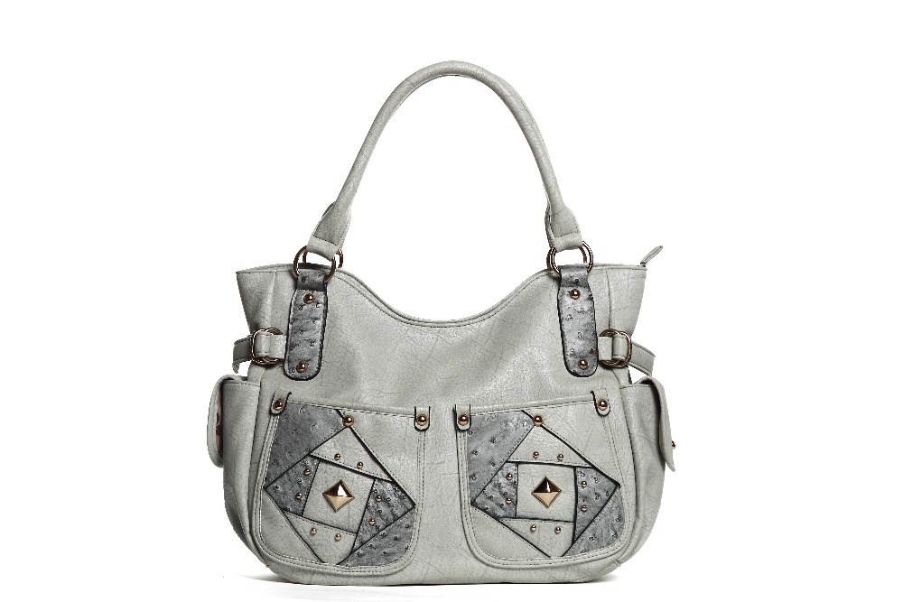 New Style Soft PU Handbag Cool Grey Color Leather Women Handbag with Outside Pockets for 2017 Market