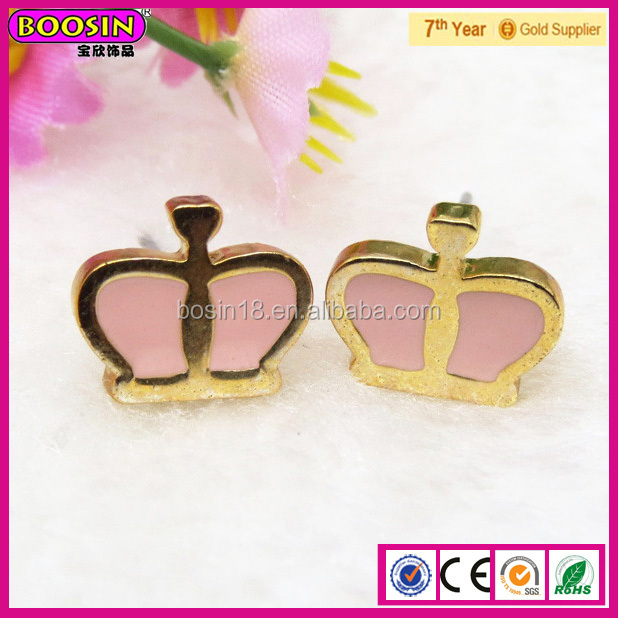 Korea fashion jewelry, Best Enamel Pink Color Crown Fancy Ladies Earring # 21773