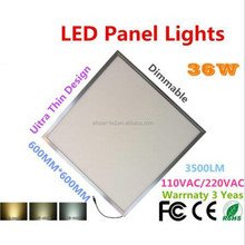 36W Dimmable LED Panel Lights Bright led 600x600 ceiling panel light 2200LM CE RoHS 110VAC / 220VAC WW / NW / CW