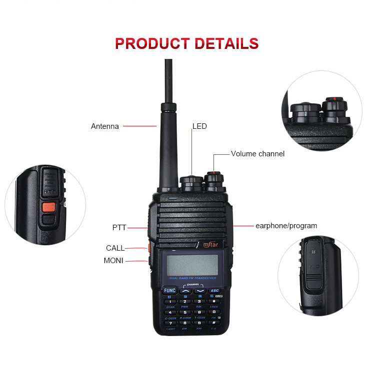 MSTAR M-UV3 2 X 128 channel tricolor lcd display alarm function interphone long distance handy dual band walkie talkie