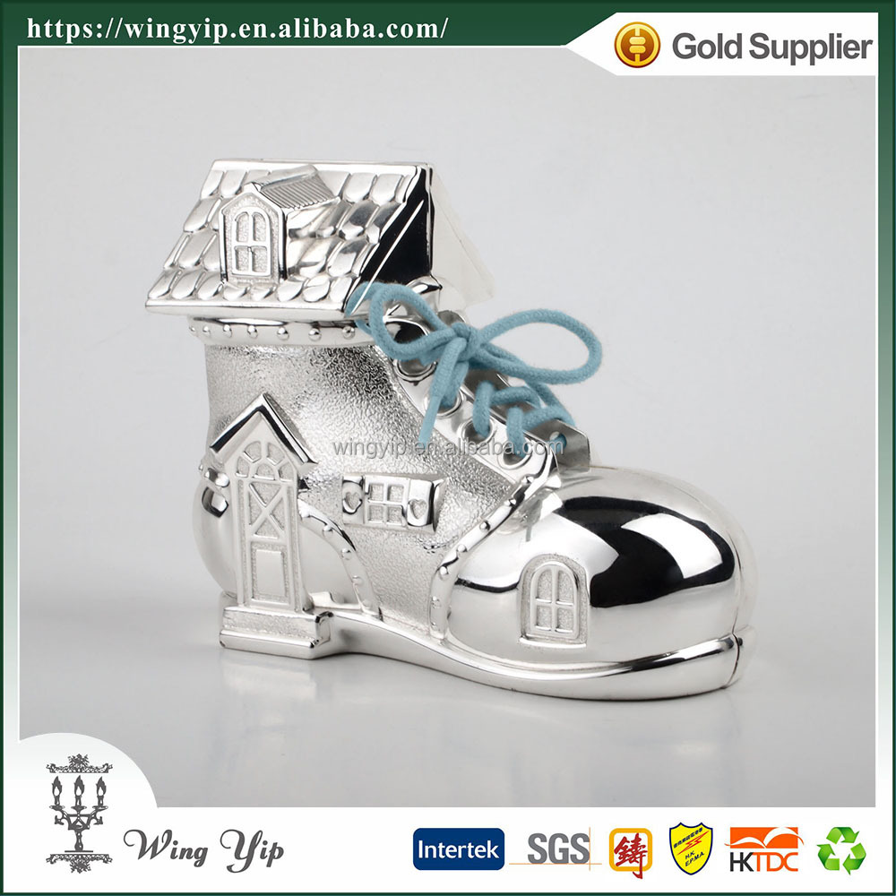 Wholesales Tailor made Shoe Shape Cute Silver Money Saving Box for Gift