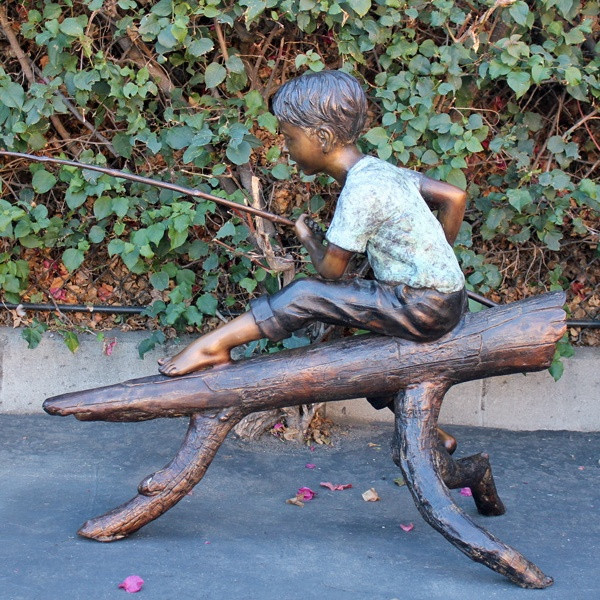 outdoor garden ornament fine workmanship life size little fishing boy statue sitting on tree