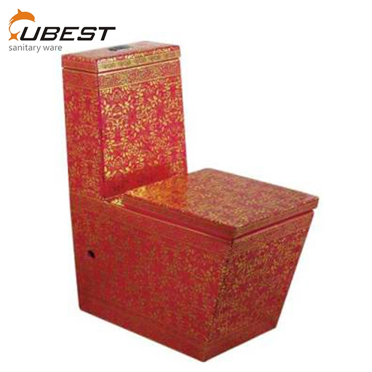 Chinese manufacturers floor mounted ceramic red bowl bathroom one piece colorful washdown one piece wc toilet