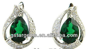 925 Sterling Silver Created Emerald Pendant Hot Gemstone Jewelry Hong Kong Wholesale