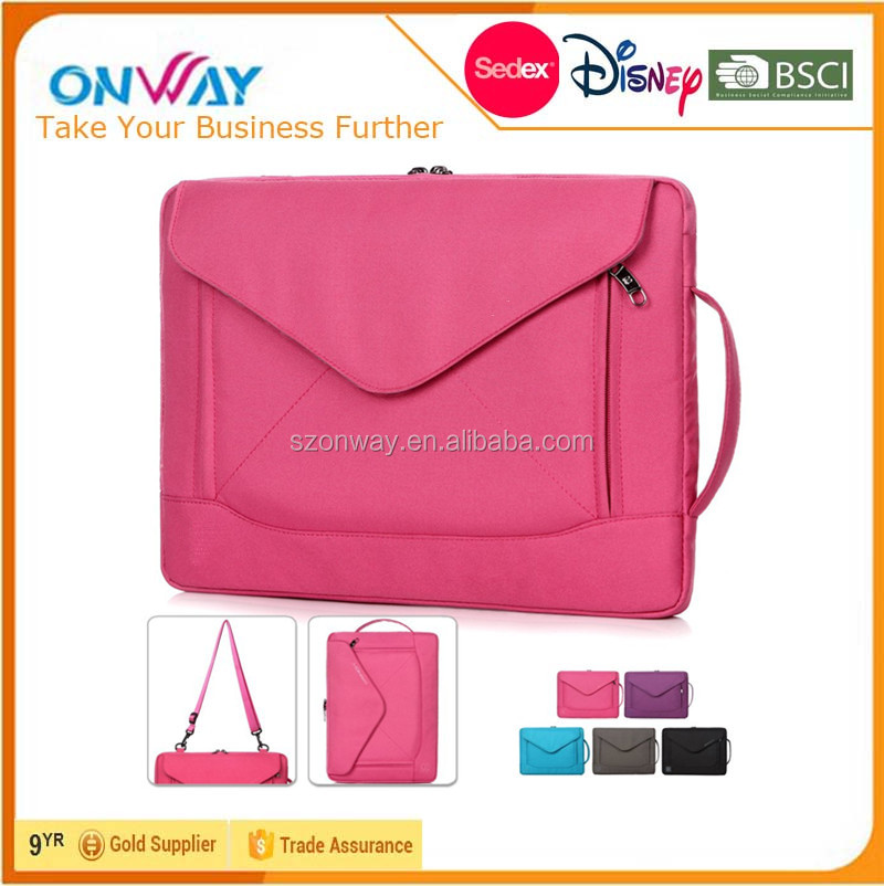 Fashion Durable Envelope Nylon Computer Bag Laptop Messenger Bag With Shoulder Strap Pockets and Card Slots