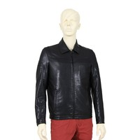 Light Weight Waterproof Black Men's Faux Leather Jacket Clothing