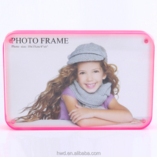 Promotion Rectangle 4*6 Neon Pink Edge Acrylic Photo Frame/Picture Frame with Round Corner