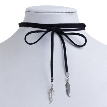 Suede Velvet Bolo Tie Choker Necklace Antique Silver Black Leaf 38cm long