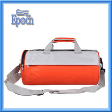 Vivid orange and white duffel bag