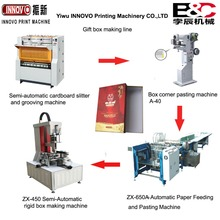 Bochen 4 machines make up semi automatic carton box making machine line Slitter,Groove,Pasting,Rigid box