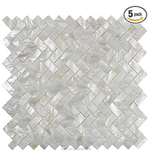 Mother of Pearl Oyster Herringbone Shell Mosaic Tile for Kitchen Backsplashes, Bathroom Walls, Spas, Pools Tile