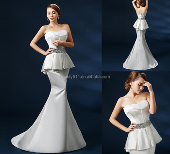 Custom Made New Style Luxury Strapless Button Back Mermaid Taffeta wedding gown bridal dresses GS44