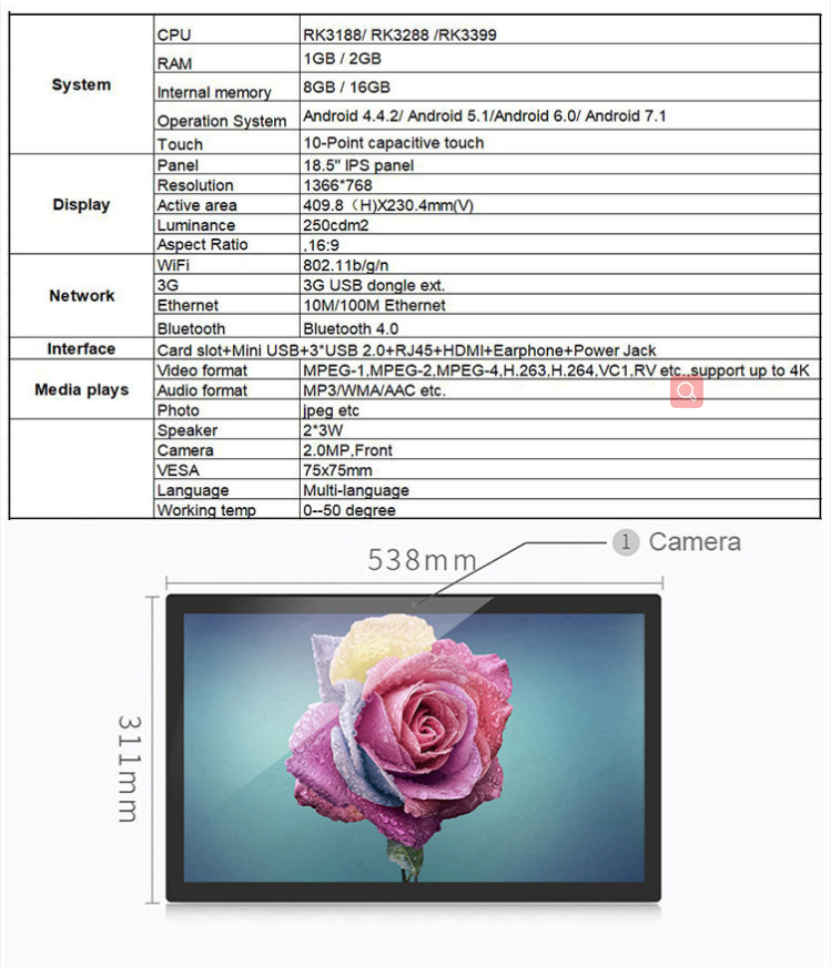 "18.5"" 10 point capacitive touch android tablet"