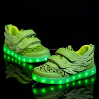 2016 newest hot selling kid shoes led China factory wholesale kid shoes led hightop angel wing shape led light up shoes