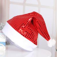 wholesale red gold blue purple decration Sequin mesh unique Christmas glitter Hats