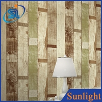 nostalgia American wallpaper wood pattern non-woven wallpapers striped wallpaper
