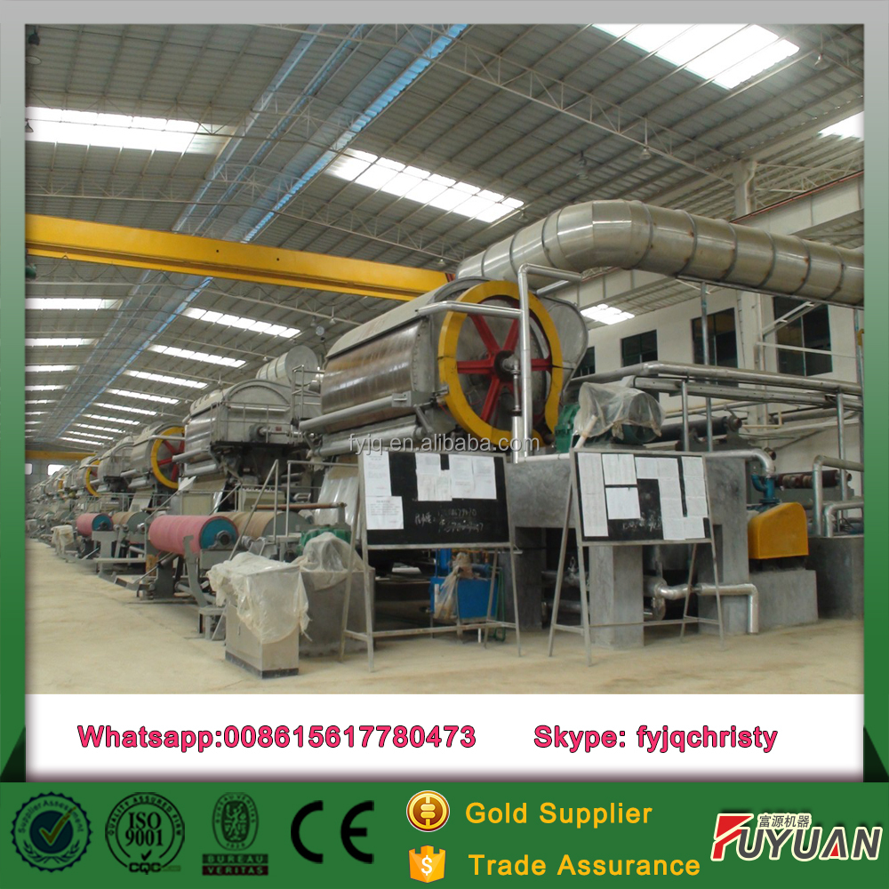 waste paper recycle 2 ton machinery to make toilet tissue paper