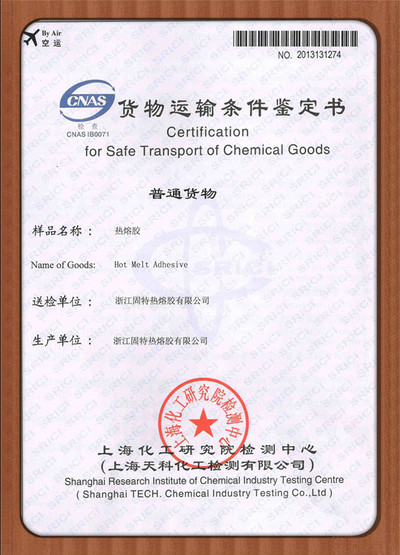 Certificatiion for Safe Transport of Chemical Goods