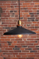 The Tomek Industrial pendant lamp with small metal shade. Lamp is UL listed