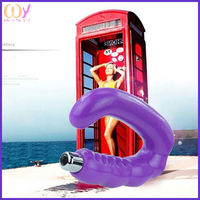 2015 high quality Low price purple flexible anal u shaped vibrator