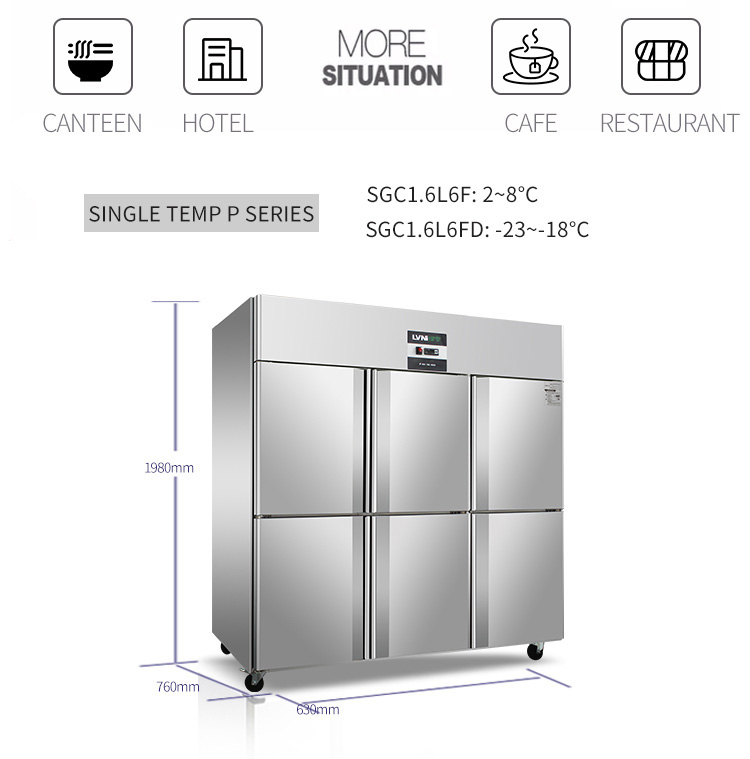 LVNI Singapore used P series 6 door 1580L big upright freezer chiller for restaurant
