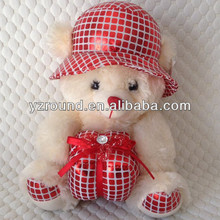 Diamond gift plush bear teddy with hat toy