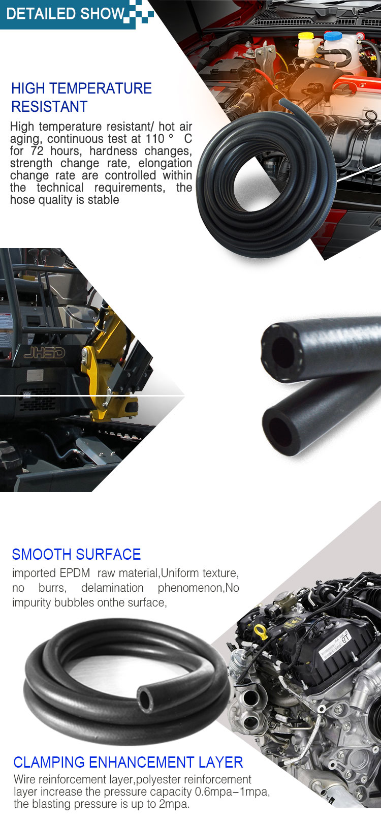6*16mm Customize High Temperature Low Pressure EPDM Rubber Soft Wire Braided Auto Heater Water Hose 20m/roll