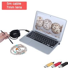 AN99 5m 7mm android&pc 2IN1 Android and PC 7MM Endoscope Borescope Inspection Wire Camera