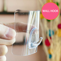 Transparent Self Adhesive Plastic No Residue Plastic Wall Hanger Hook