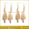 Wholesale Price Fashion 316L Surgical Steel Indian Gold Plated Middle Finger Fancy Drop Earrings