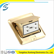OEM waterproof brass doors E-5T-5 floor power mounting double 2 pin and double MF socket outlet