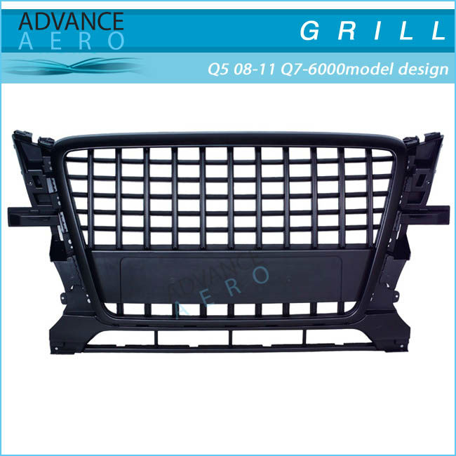 FOR 2008-2011 AUDI Q5 Q7-6000 MODEL DESIGN BLACK/CHROME ABS FRONT GRILL GRILLE SPORTS LOOK