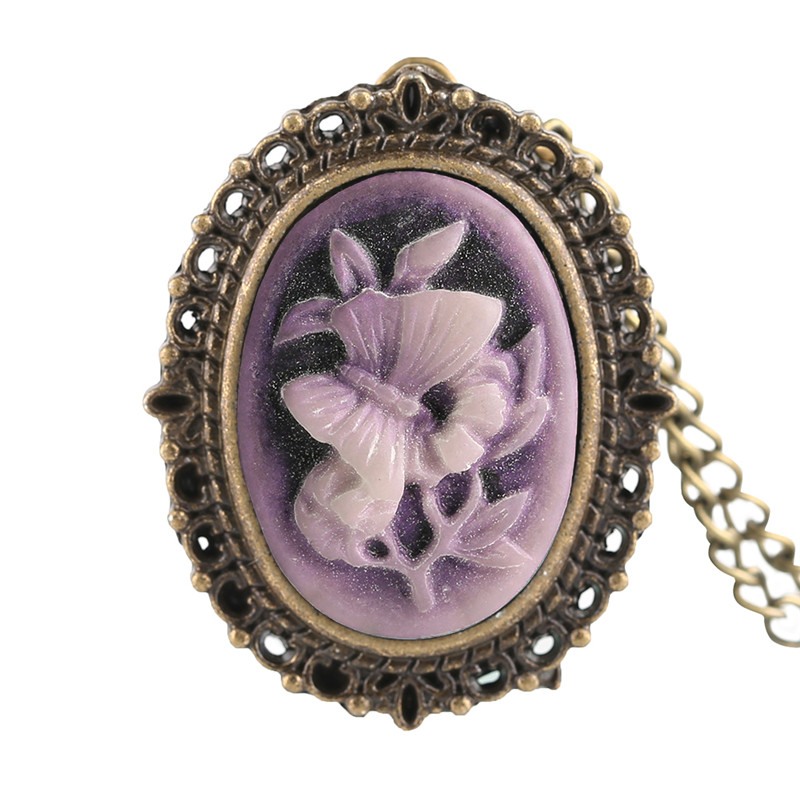Retro Purple Flower Butterfly Pattern Mini Pocket Watch Women Lady Girl Necklace Pendant Watches Clock Birthday New Year Gifts (1)