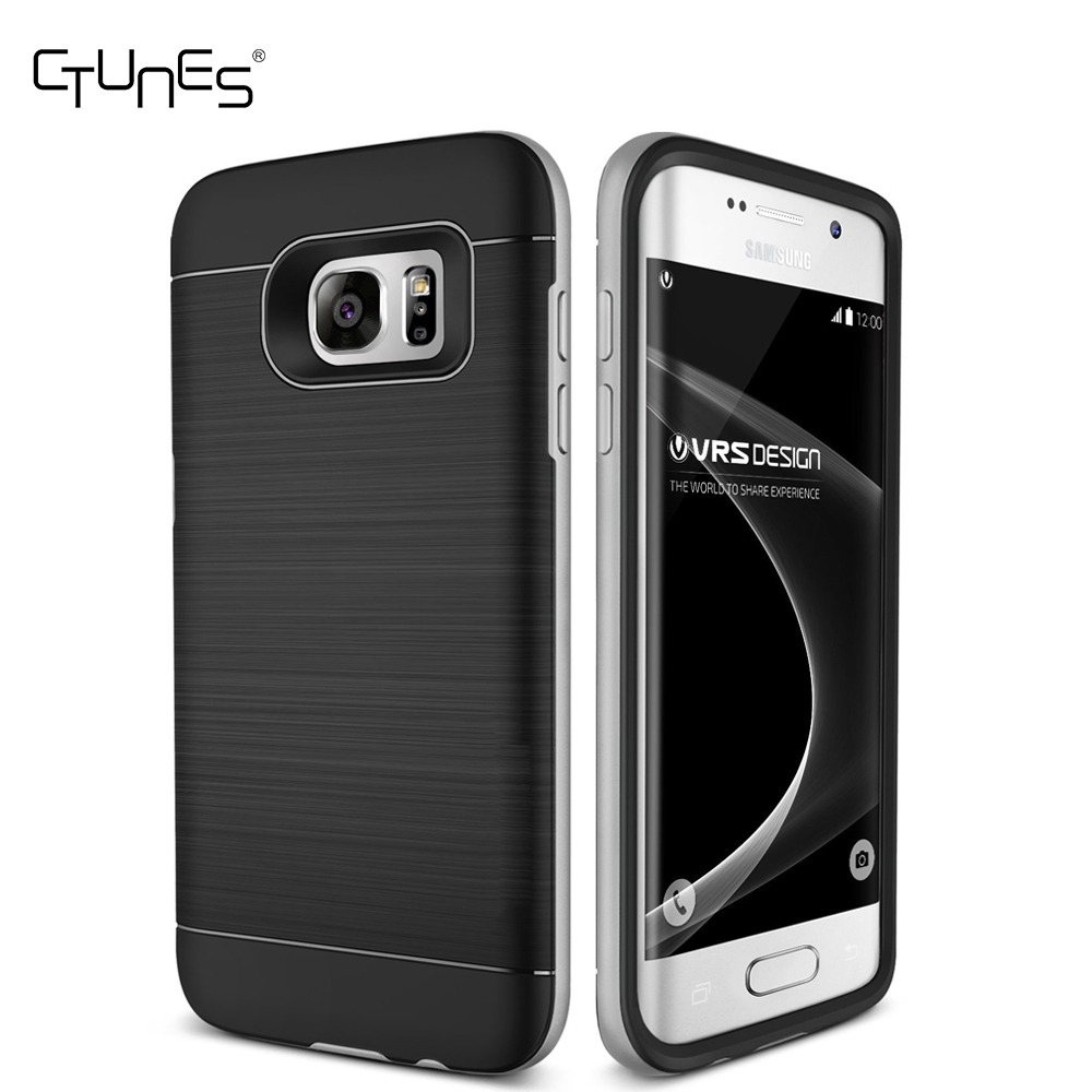 C&T Brushed Metal Texture Hybrid Dual Layer Defender Protective Case Cover For Samsung Galaxy S7 Edge