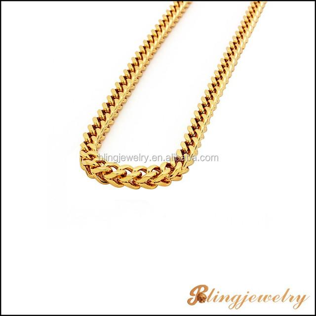 Stainless steel gold plated franco chain necklace in hip hop jewelry style
