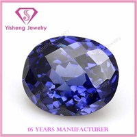 Oval Sharp Bottom Faceted Cut Imitation Cubic Zirconia Tanzanite Piedra Preciosa