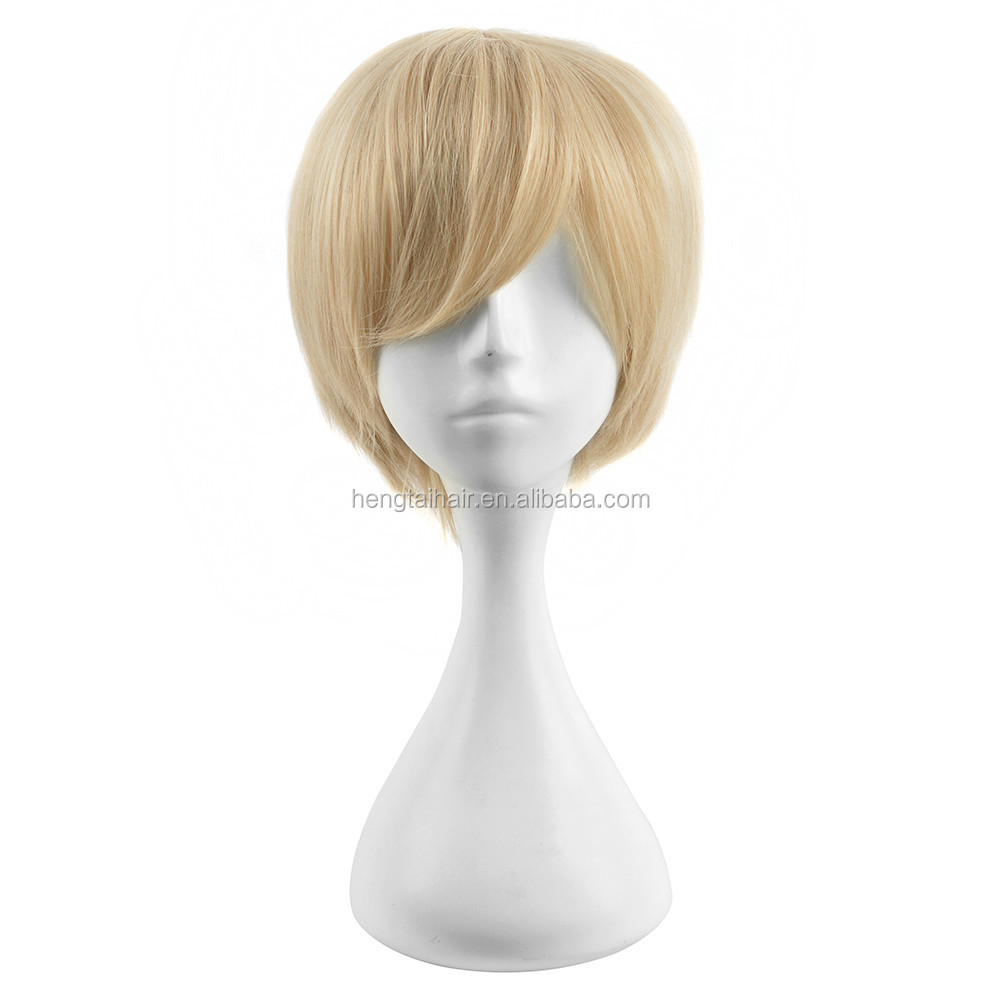 25cm Yellow Short Straight Haircuts Anime One Piece Sanji Cosplay Harajuku Male Wigs Cheap Synthetic Hair Men Bob Wig