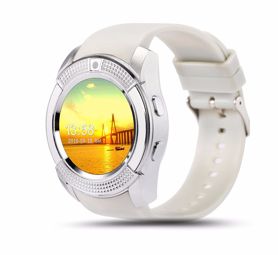 Round Dial Clock V8 Smart Watch Phone for Android Smartphone Support SIM Card and Camera