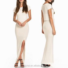 Wholesale High Quality Ladies Short Sleeve White T-Shirt Overlay Maxi Dress With High Slit