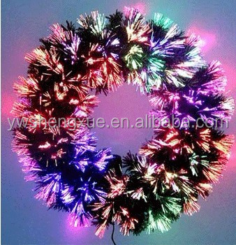 High Quality PE 24 Inches Artifical Holiday Indoor Ornamnet fiber optic Christmas Wreath