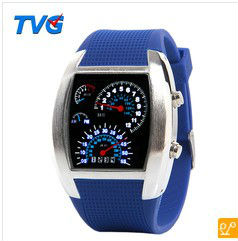 2013 Cool RPM Turbo Blue Flash tvg LED Watch BRAND NEW Gift Sports Car Meter Dial for Men