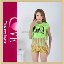 New Arrival Super Sexy Love Bling Short Pants Hip-Hop Suits For Girls