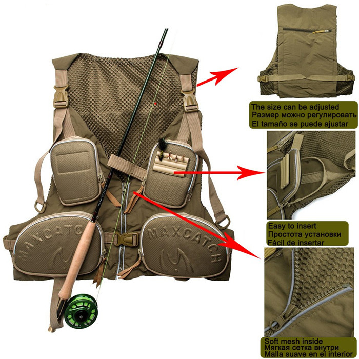 New Fly <strong>Fishing</strong> Vest <strong>Fishing</strong> Pack Outdoor Handy Adjustable Vest