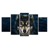5 Piece Canvas Wall Art Watchful Wolf in The Dark Picture Art Print Animal Painting on Canvas for Home Decor