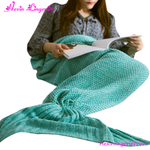 Hot Sale Mermaid Tail Blanket Kint Pattern Knitted Blanket Mermaid