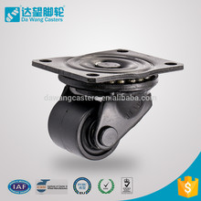DW 62 series business machine roller bearing low profile type plate nylon caster with brake dawang